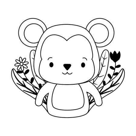 cute monkey animal cartoon vector illustration design Stok Fotoğraf - 122765119