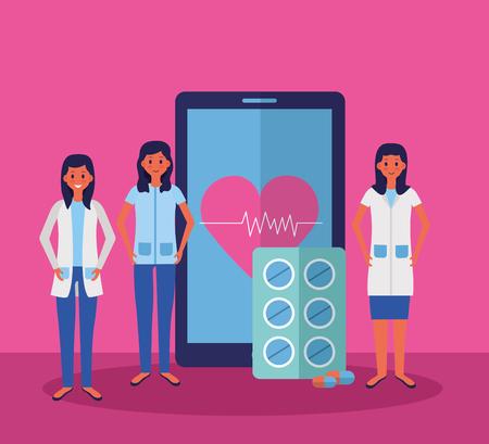medical people staff smartphone app medicine capsule vector illustration Banque d'images - 121888897
