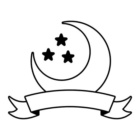 half moon and stars on white background vector illustration design