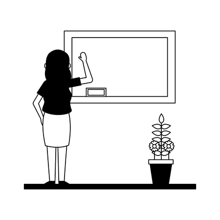 woman with blackboard and potted plant teachers day card vector illustration 写真素材 - 122765128