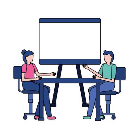 business people desk office board blank vector illustration