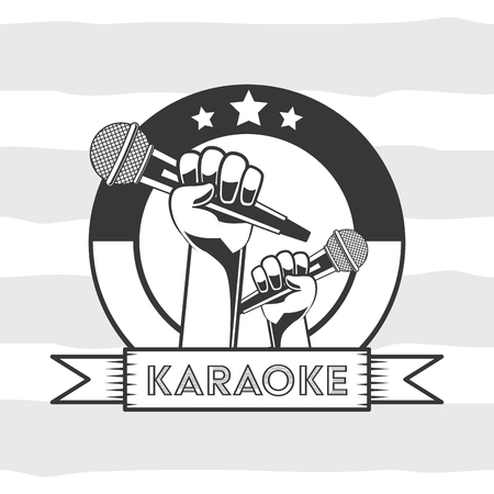 hand with microphone karaoke retro banner vector illustration