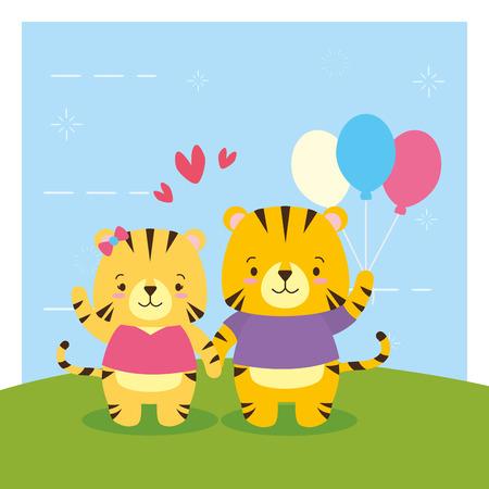 cute couple tiger animal cartoon vector illustration design