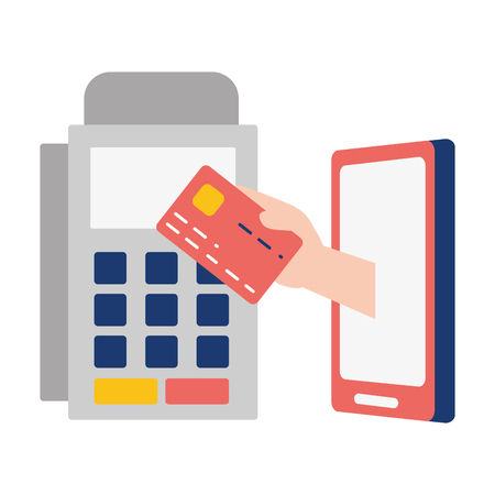 hand mobile card pos terminal online banking vector illustration