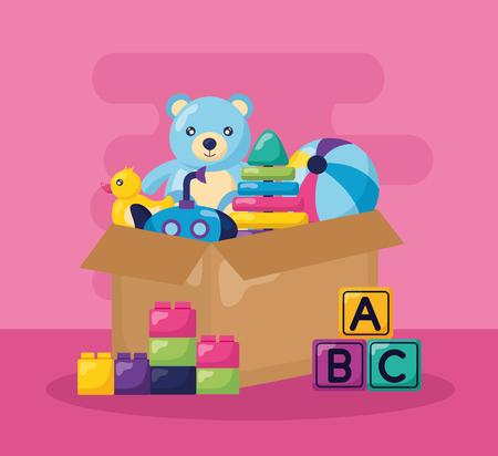 kids toys bear ball pyramid ball duck submarine box vector illustration Illusztráció