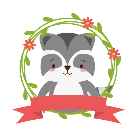 cute raccoon cartoon sticker flowers vector illustration design