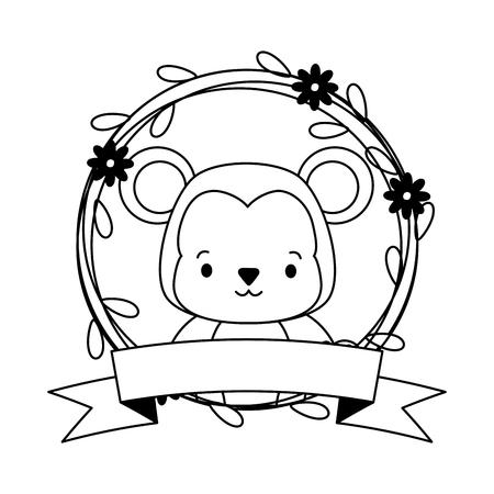 cute monkey cartoon sticker flowers vector illustration design