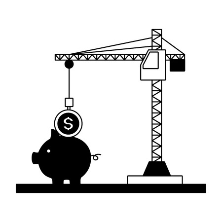crane inserting coin in the pig tax payment vector illustration