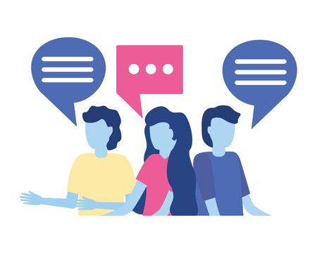 group people speech bubble on white background vector illustration Illustration