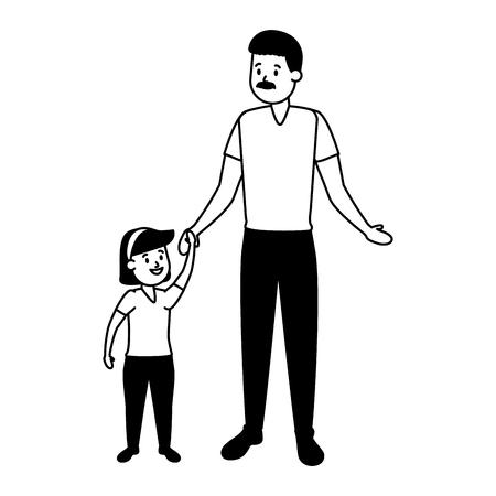Familienvater mit Tochtervektorillustrationsdesign
