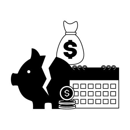 piggy bank calendar coins money bag tax payment vector illustration