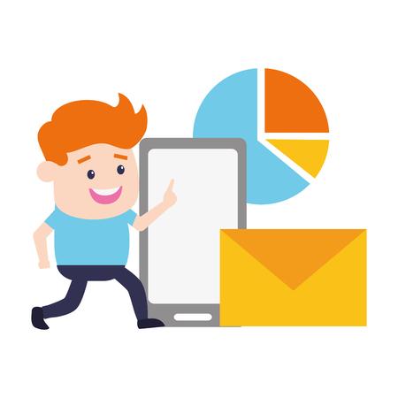 businessman mobile email chart online banking vector illustration Ilustrace