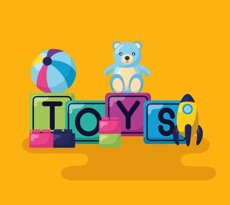 kids toys bear cubes ball rocket blocks vector illustration Illusztráció