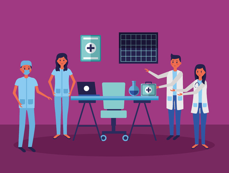 medical people staff professional in the office with equipment vector illustration