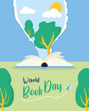 textbook tree nature lettering - world book day vector illustration
