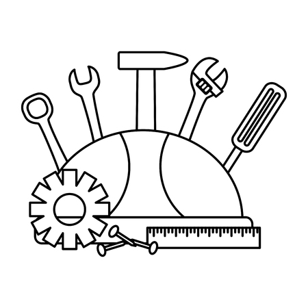 helmet screwdriver hammer screw gear construction tools vector illustration Çizim