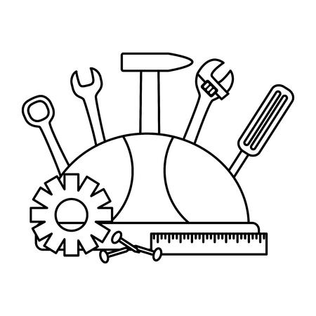 Tournevis casque marteau vis engrenage outils de construction vector illustration
