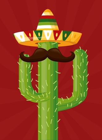 cactus with hat mustache mexico cinco de mayo vector illustration