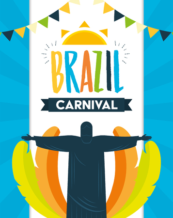 statue of christ redeemer feathers brazil carnival festival celebration poster vector illustration