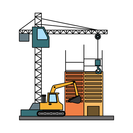 building construction crane bulldozer tools vector illustration 일러스트
