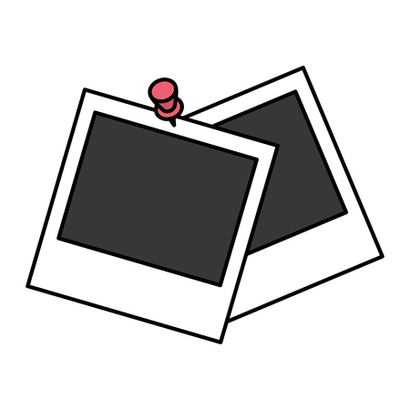 picture frames pin on white background vector illustration design