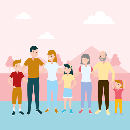 happy family parents kids grandparents vector illustration vector illustration design Reklamní fotografie - 122707290