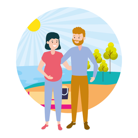 happy pregnant couple family outdoors vector illustration