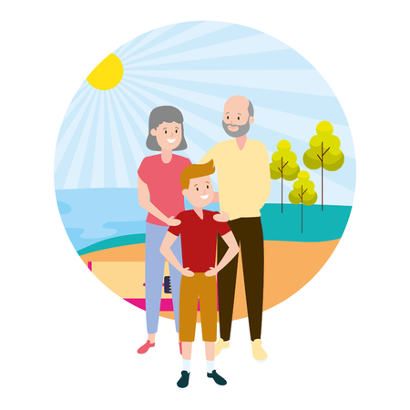 grandparents and grandson family outdoors vector illustration Illustration