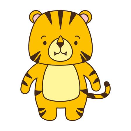 cute tiger animal cartoon vector illustration design