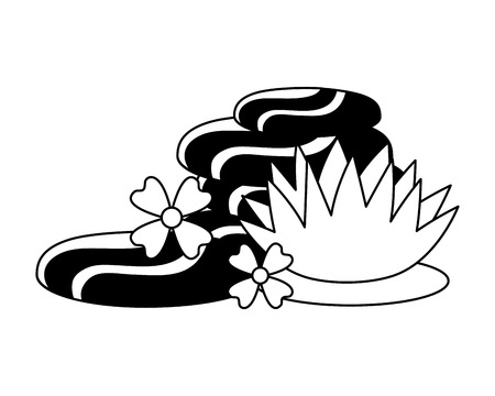 hot stones flowers spa treatment therapy vector illustration  イラスト・ベクター素材