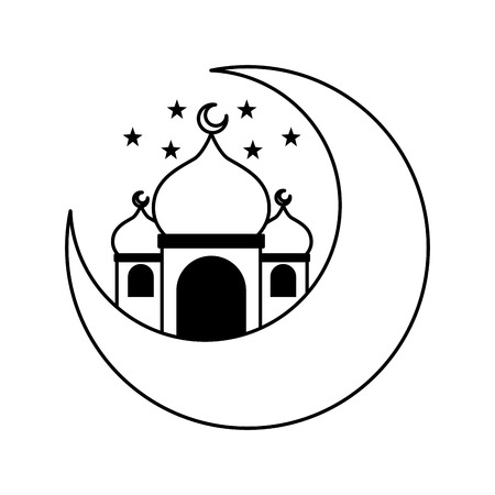 taj mahal half moon islamic vector illustration design