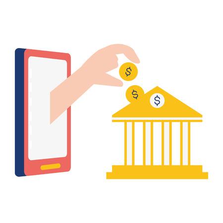hand pushing coin bank online banking vector illustration Foto de archivo - 121889080