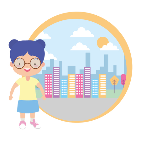 cute little girl city street background vector illustration design Stock Illustratie