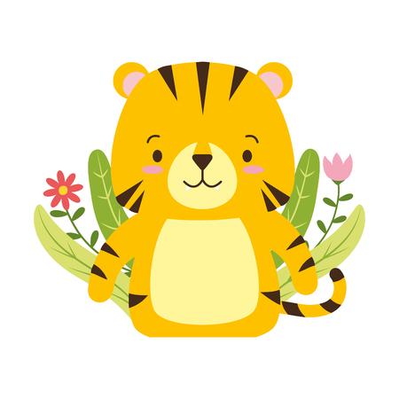 cute tiger cartoon flower leaves vector illustration