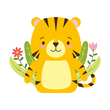 Tigre lindo dibujos animados flor deja ilustración vectorial