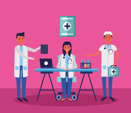 medical people staff professional in the office with chemical flasks vector illustration