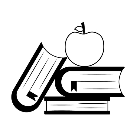 school books apple teachers day vector illustration Иллюстрация