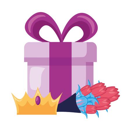 gift crown bouquet flowers celebration vector illustration