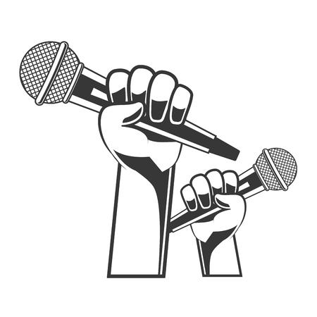 hand with microphone karaoke musical vector illustration Illustration