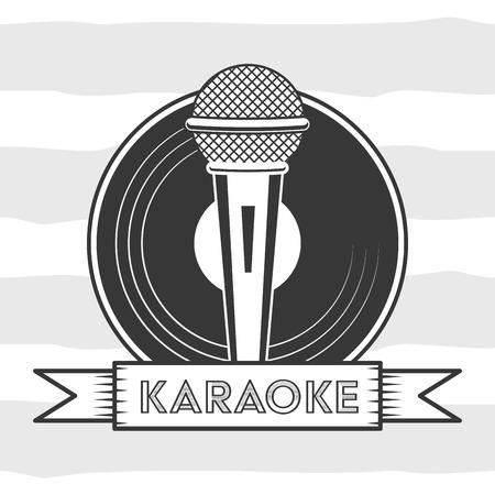 microphone and vinyl karaoke retro style vector illustration