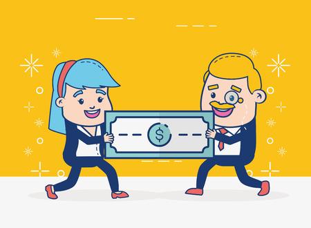 businessman and woman money online banking vector illustration Illustration