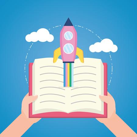 hands open book flying rocket - world book day vector illustration Ilustração