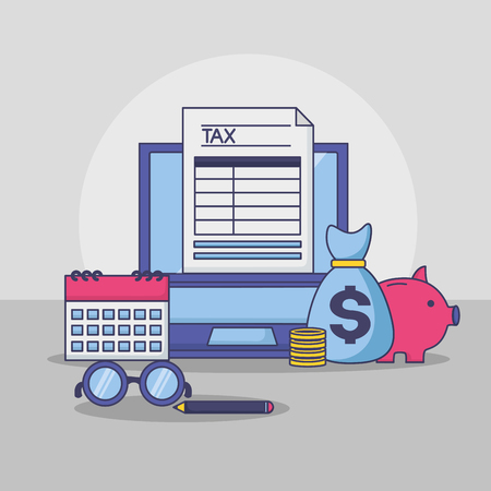 laptop money bag piggy bank calendar form tax payment vector illustration