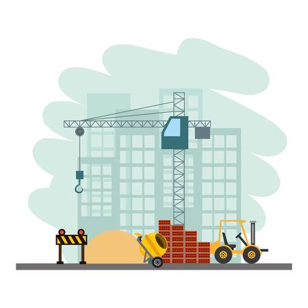 construction forklift bricks mixer barricade vector illustration