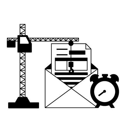 crane clock form money tax time payment vector illustration
