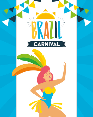 dancer with feather costume garland decoration brazil carnival celebration vector illustration Standard-Bild - 121889629