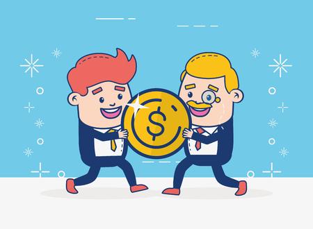 businessmen money coin online banking vector illustration