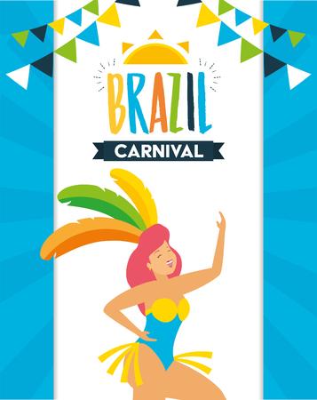 dancer with feather costume garland decoration brazil carnival celebration vector illustration