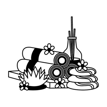 aromatherapy sticks towels stones flowers spa treatment therapy vector illustration Illusztráció