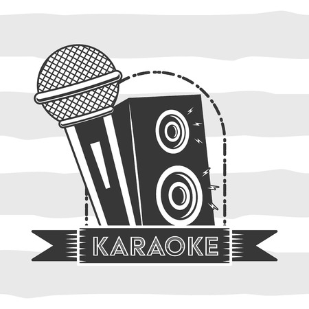 microphone and speaker sound karaoke retro style vector illustration  イラスト・ベクター素材